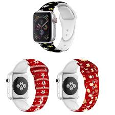 <b>Christmas</b> Flower Printed Soft <b>Silicone Strap</b> For Apple Watch Series ...