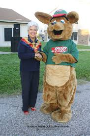 kiffle the kangaroo the official mascot of kpmg s family for corpus christi or nelda martinez and speedy cash at crime prevention neighborhood watch block party
