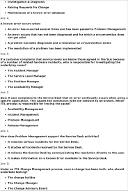 interview questions que which process is responsible for customer complains that service levels are below those agreed in the sla because of a number