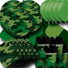 <b>Camouflage</b> Party Pack For 16 - <b>Plates</b>, <b>Cups</b>, Napkins, Balloons and...