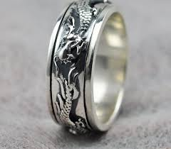 Carved Chinese dragon <b>925 sterling</b> silver ring bands for men ...