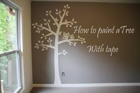 tree wall decor art youtube: how to paint tree on wall  baby room easy tape amp paper only youtube