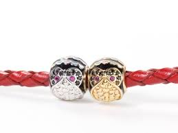 Round Owl Round Bead CZ Pave Large Hole Animal Beads <b>Red</b> ...