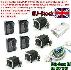 【EU】<b>4 Axis Nema34</b> Stepper Motor <b>878oz.in</b> 98mm 4.0A&CW8060 ...
