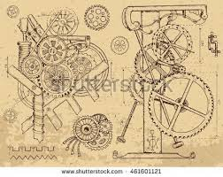 <b>Retro</b> mechanisms and machines in <b>steampunk</b> style on textured ...