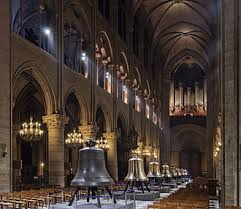the new bells of notre dame de paris cathedral on public display in the nave in february 2013 cathacdrale de notre dame