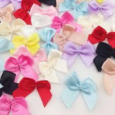 <b>50pcs Mini</b> Silk <b>Satin Ribbon</b> Bow Appliques Wedding Sewing Craft ...