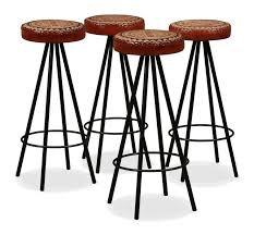 Tabouret de bar <b>4 pcs</b> Cuir veritable et toile - 245448FR   <b>Bar stools</b> ...