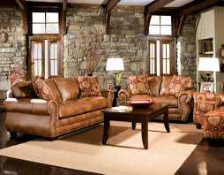 rustic living room with stone beautiful brown living room