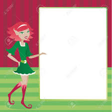 cute holiday elf presenting a blank message area for ad or cute holiday elf presenting a blank message area for ad or invitation content stock vector