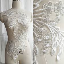 <b>1pc</b> Ivory Silver <b>Big</b> Flower Lace Appliques Exquisite Applique ...