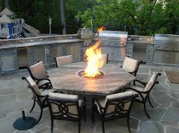 ideas outdoor dining tables pinterest chic outdoor kitchen barbecue grills combine propane fire pit hexagon