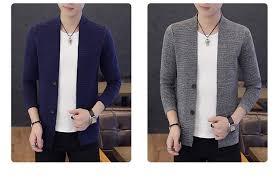2019 <b>Autumn New</b> Men's Slim Fit <b>Cardigan Sweaters</b> Male Black ...