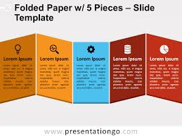 Folded Paper with <b>5 Pieces</b> for PowerPoint and Google Slides