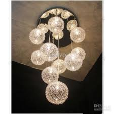 10 heads glass aluminum wire glass balls living room ceiling pendant light free shipping dining room ball pendant lighting