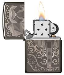 <b>Зажигалка</b> Zippo <b>Elephant Fancy</b> Fill Design с покрытием Black Ice ...
