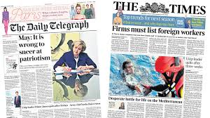 newspaper headlines speech previewed ukip leader quits and image caption the financial times says home secretary amber rudd has taken aim at british businesses for offering too many jobs to international candidates