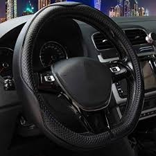 <b>D Shaped</b> Steering Wheel Covers, Black <b>Genuine Leather</b> ...