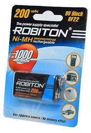 <b>Аккумулятор</b> Ni-Mh 200 мА·ч <b>ROBITON</b> 9V <b>Крона</b> 6F22 200 ...