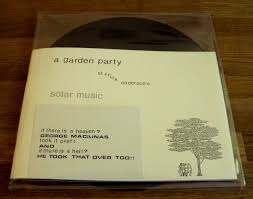 edition telemark right hand side holds the lp left hand side holds the book a poster and a postcard edition of 200 side a a garden party