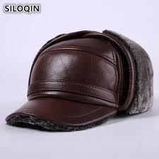 <b>SILOQIN New Winter Mens</b> Genuine Leather Hat Thicken Warm ...