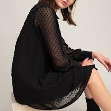 <b>Платье</b>-<b>рубашка</b> с вышивкой гладью, длинные рукава черный <b>La</b> ...