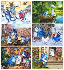 "<b>Full Round Drill</b> 5D DIY Diamond Painting ""cartoon blue cat"" <b>3D</b> ..."