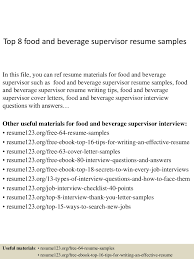 food and beverage resume sample examples of well written college top8foodandbeveragesupervisorresumesamples 150408222421 conversion gate01 thumbnail 4 top 8 food and beverage supervisor resume samples