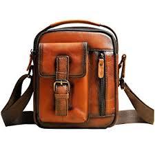 Men's Vintage Crazy horse leather Messenger Bag ... - Amazon.com