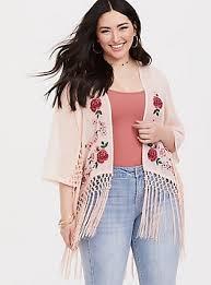 Pink <b>Chiffon Embroidered</b> Fringe Kimono - <b>Plus Size</b>   Torrid