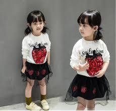 <b>2017</b> Girls Spring Long Sleeve Strawberry T Shirt <b>Dress</b> Sets ...