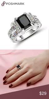 New Black Big Stone Ring gold Rhodium <b>plated</b> Gift Size7 Black Big ...
