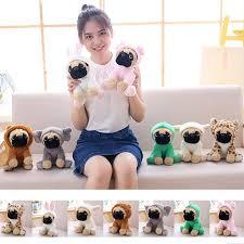 Stuffed <b>Simulation Dogs Plush</b> Sharpei Pug <b>Lovely Puppy Pet Toy</b> ...