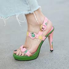 Women Peep Toe Pink Pineapple Fruit Printed Sandals Clear ...