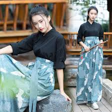 three piece Improved <b>Chinese style ancient costume</b> Hanfu suit ...
