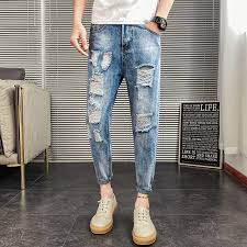 <b>Mens Ripped</b> Jeans <b>Fashion</b> Loose Hole Summer Casual Straight ...