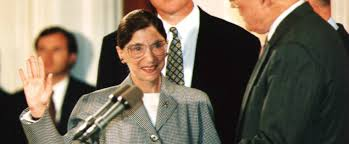 publisher announces new book of ruth bader ginsburg s essay and chief justice of the u s supreme court william rehnquist r administers the oath of office to newly appointed u s supreme court justice ruth bader