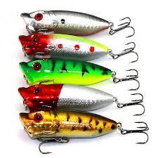 <b>Lot</b> of <b>5PCS</b> Topwater <b>Popper</b> Freshwater Fishing Lures Bass Bait ...