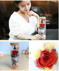 <b>Glass Cover Fresh Preserved</b> Lighting Rose Flower Color ...