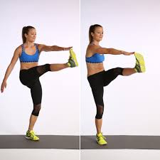 Image result for woman alternating toe touches workout