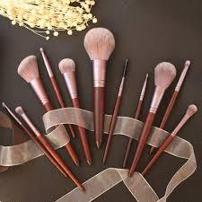 <b>11pcs</b> Red <b>Wooden</b> Makeup Brushes Set Flame Brush Eye Shadow ...