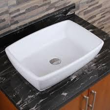 design rectangular porcelain vessel sink bathroom
