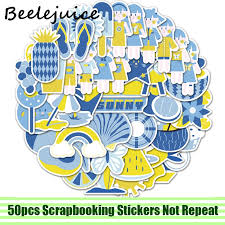 <b>50pcs Summer style</b> girls yellow blue funny Stickers Skateboard ...