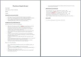 warehouse resume   camgigandet orgwarehouse resume sample resume template muvtwxm