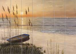 tile mural sunset window backsplash