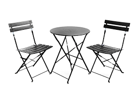 black and white patio furniture. amazoncom finnhomy slatted 3 piece outdoor patio furniture sets bistro steel folding table and chair set with safe lock for indoors outdoors black white