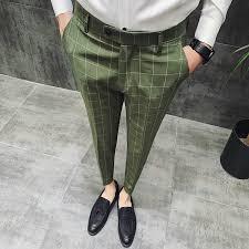 British Style Dress Suit Pant Man <b>2019 New Plaid Suit</b> Pant Men ...