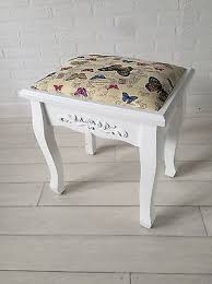 New <b>Solid</b> White Shabby Chic <b>Stool</b> for Dressing Table Butterfly ...