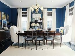 small dining room decor  ideas  beautiful interior to decorate dining room with navy room decor of wall also chic furniture of wooden table and chair also arm chair under chandelier
