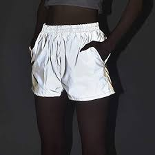 LZLRUN 2019 <b>Flash Reflective</b> Women Shorts <b>Streetwear</b> Festival ...